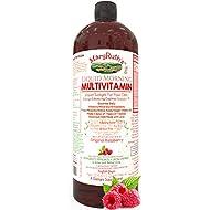Morning Liquid Vitamins by MaryRuth (Raspberry) Vegan Multivitamin A B C D3 E Trace Minerals & Amino Acids for Energy, Hair, Skin & Nails for Men & Women | Paleo | Gluten Free | 0 Sugar | 0 Fat | 32oz