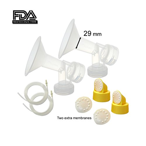 Maymom MyFit Breast Pump Kit for Medela Pump in Style Pumps; 2 X-Large- One-piece 29 mm Breastshields, 2 Valves, 4 Membranes, & 2 Pump-in-Style Tubing; Simple Wishes Bra Compatible and Medela Quick Clean, Micro Steam Bag Safe.
