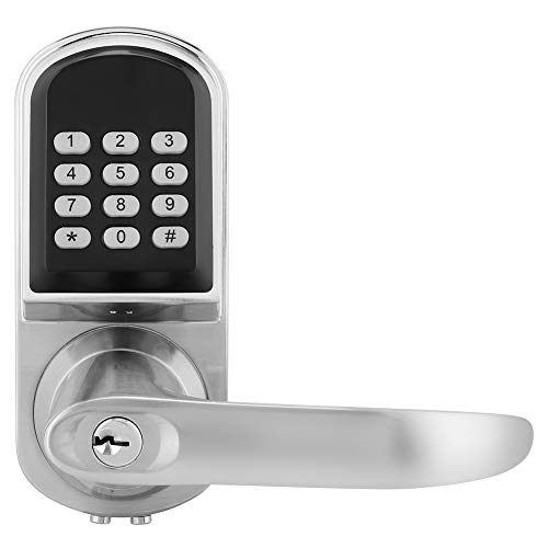 MF Digital Door Lock Password Mechanical Key RFID Card Smart Door Lock Anti-Theft Lock with Illuminated Keyboard Reversible handle