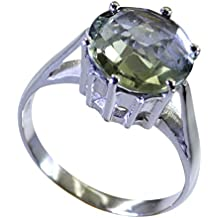New Design Ring Genuine Green Amethyst 925 Silver For Women & Girls Prong Cut Round Shape Jewelry For Her