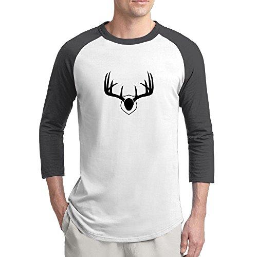 Pingquchan Christmas Elk Mens 3/4 Raglan Sleeve Athletic Shirts Casual Tees For Men Baseball T-Shirt XL Black