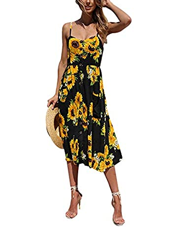 f816e7b24f3 SWQZVT Women's Dress Summer Spaghetti Strap Sundress Casual Floral Midi  Backless Button Up Swing Dresses with