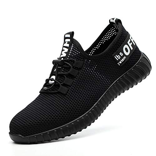 JACKSHIBO Steel Toe Indestructible Work Shoes for Men Women Lightweight Mesh Safety Industrial Construction Shoes Black White9 Women/7.5 Men