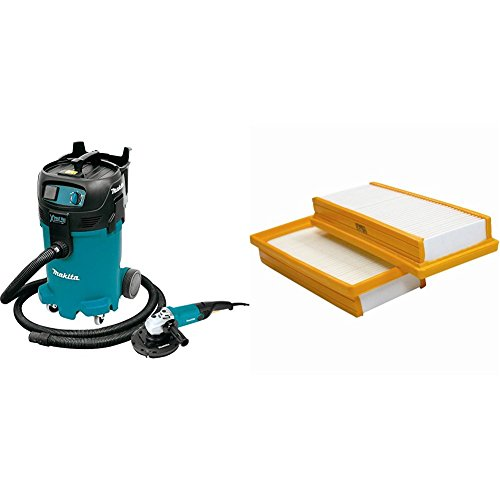Makita VC4710X1 12 gallon Xtract Vac Wet/Dry Vacuum and 7 inch Angle Grinder with free Makita P-79859 Dust Extracting Main Flat HEPA Filter Set