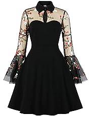 Wellwits Women's Keyhole Mesh Bell Long Sleeve Knee Swing Cocktail Dress