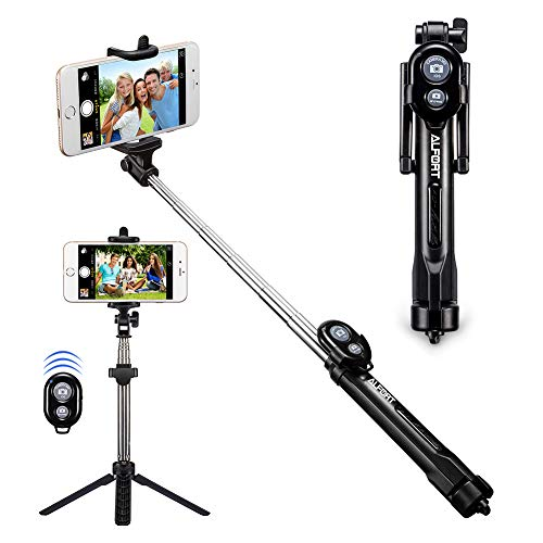 Bluetooth Selfie Stick Alfort Extendable Selfie Stick Tripods 2-in-1 Monopod with Wireless Remote Shutter for iPhone X/8/8P/7/7P/6s/6P/5S, Galaxy S5/S6/S7/S8, Google, Huawei and More(Black)