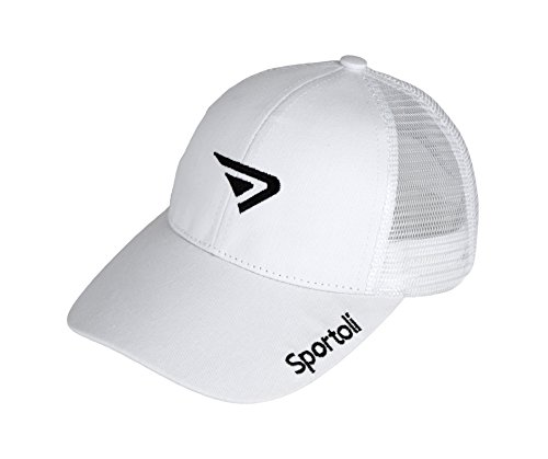 Sportoli Adult and Kids Cotton Blend and Mesh Snapback Trucker Baseball Cap Hat - White