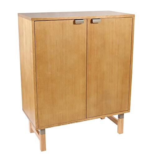 Amazon Brand – Rivet Mid-Century Modern Pine Bar Cabinet, 31.5″W, Brown