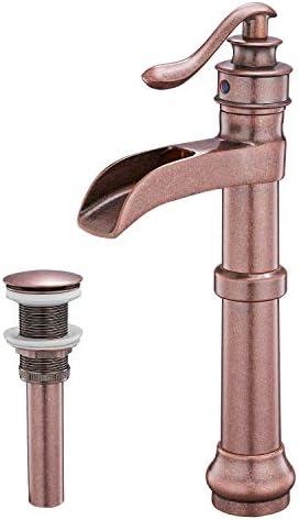 Aquafaucet Waterfall Spout Single Handle Lever Hole Commercial Bathroom Vessel Sink Faucet Copper