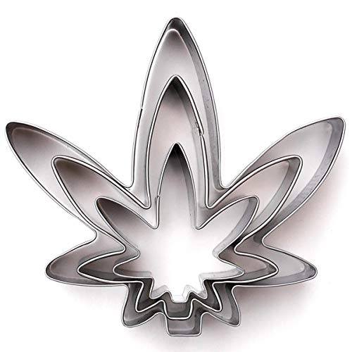 Marijuana Pot Leaf Brownie Cookie Cutter Mold Party Novelty Joint Bud Smoke Gift 3pc Set - Stainless Steel ()
