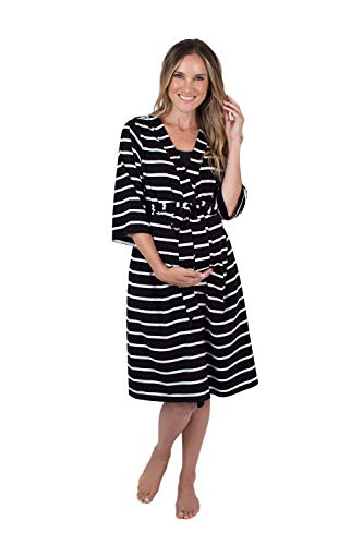 Baby Be Mine Maternity Labor Delivery Nursing Robe Hospital Bag Must Have (L/XL pre Pregnancy 12-18, Black Stripe)