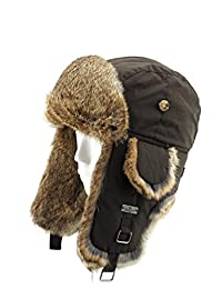 FUR WINTER Taslon Rabbit Fur Aviator Bomber Trapper Trooper Pilot Ski Hat