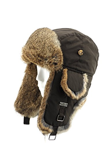 FUR WINTER Taslon Rabbit Fur Aviator Outdoor Trapper Trooper Pilot Ski Hat BRN L/XL Brown