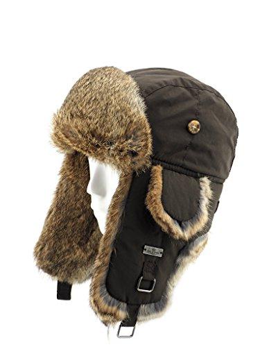 FUR WINTER Taslon Rabbit Fur Aviator Outdoor Trapper Trooper Pilot Ski Hat BRN L/XL Brown