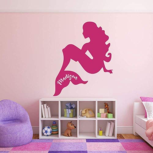 (Mermaid Vinyl Wall Decal | Personalized Mermaid for Girl's Bedroom, Bathroom or Playroom | Pink, Purple, Black, White, Other Colors | Small, Large Sizes)