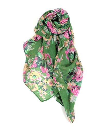 (Scarfand's Floral Rose Print Thin & Light Fashion Scarf (Bouquet)