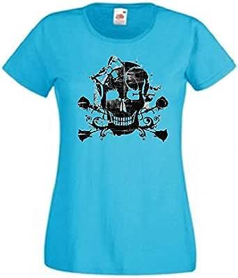 تي شيرت قبة دائرية Skull Girl - نساء
