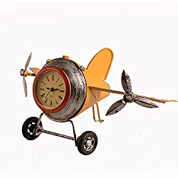 Airplane Table Clock CR Retro Vintage Plane Airplane Model Clock with Lindbergh Aviation Aircraft Clocks Home Decoration Toy gift for children kids (B-Yellow)
