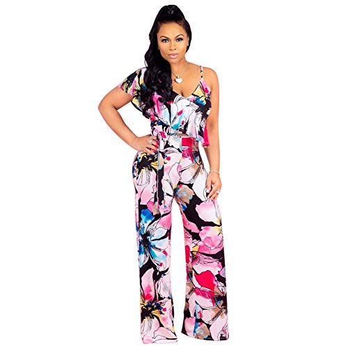 Halfword Women's Sexy V Neck Wide Leg Long Pants Ruffle Floral Printed Jumpsuit Rompers ()