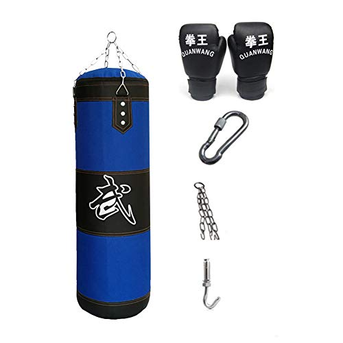 KKLU Heavy Boxing Empty Sandbag Hanging Punching Bag, Punching Bag with Gloves Special Chains and Hooks,for Man Women…
