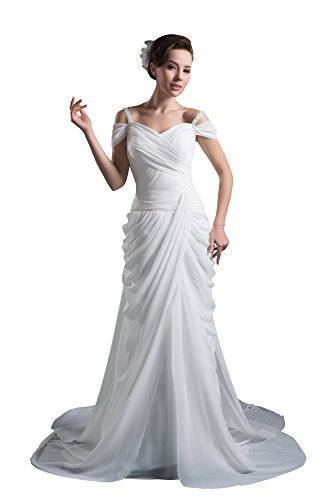VogueZone009 Females Sleeveless Off the Shoulder Pongee Satin Wedding Dress, ColorCards, 16 by VogueZone009