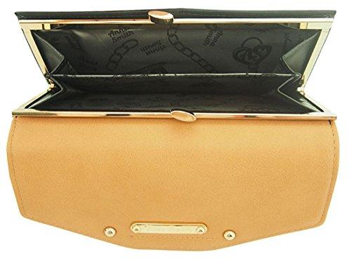 nna Smith imitación cuero gran Matinee monedero con caja de regalo Black & Tan