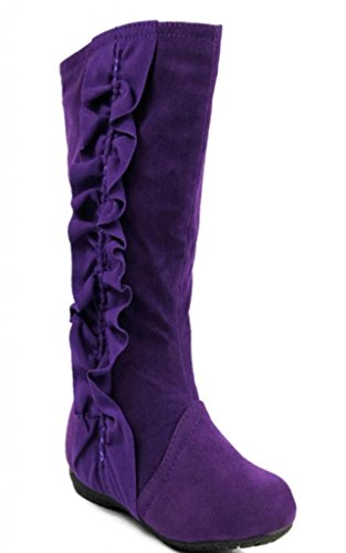 Kali Footwear Girl's Event Jr. Faux Suede Ruffle Boots (Junior Suede Boot)