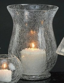 Biedermann & Sons H305CL Clear Crackle Glass Hurricane Candle Holder -