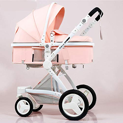 Y-Pushcar 3 in 1 Luxury Baby Stroller with Car Seat High Landscape Pram for Newborns Travel System Baby Trolley Walker Foldable Carriage,C