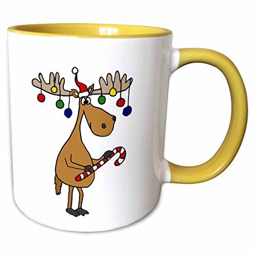 3dRose All Smiles Art Christmas - Funny Christmas Moose with Christmas Balls and Candy Cane - 15oz Two-Tone Yellow Mug (mug_220489_13)