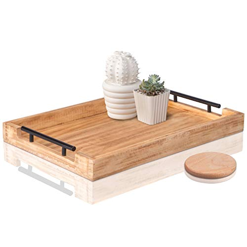 Wood Serving Tray with Metal Handles 20x14 - Large Multipurpose Ottoman Wooden Tray for Food and Decoration. Wood Food Tray Smooth and Completely Splinter-Free (With Serving Metal Handles Tray Wooden)
