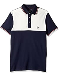 Men's Slim Fit Color Block Short Sleeve Stretch Pique...