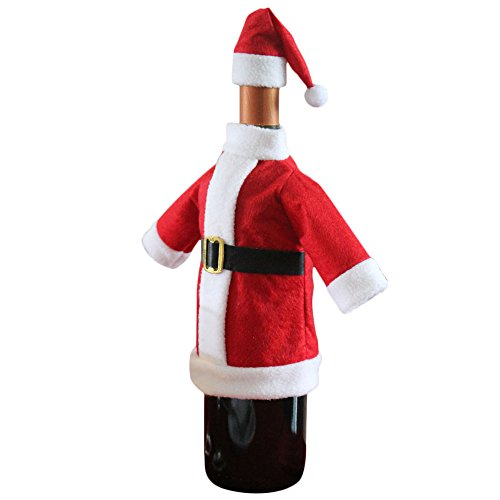 Pausseo Santa Claus Wine Bottle Gift Bags Cover Set Reindeer Tree Wine Bottle Covers Dress Santa Claus Clothes Hat Party Decorations Xmas Ornaments Dinner Party Tables Decor Merry Christmas (1-Pack)