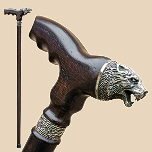 (Fashionable Walking Canes for Men - Wolf - Carved Derby Men's Cane - Fancy Stylish Wooden Canes and Walking Sticks)