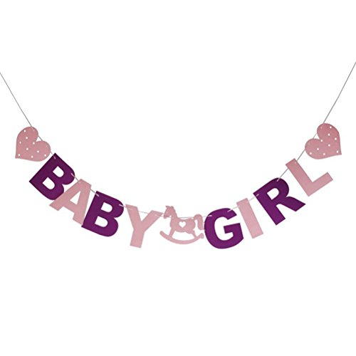 PIXNOR Baby Girl Baby Shower Party Bunting Banner Decoration]()