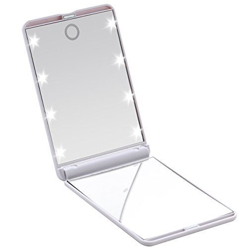 Miss Sweet Compact Mirror with Led Lights for Purse 2X (White)
