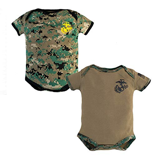 Baby Bodysuits 2 Pk. USMC Woodland Camo and Coyote Brown (9-12 Months)