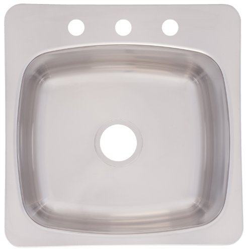 Franke Axis 20-Inch Wide x 10-Inch Deep Topmount 3-Hole Single Bowl Kitchen Prep, Bar or Utility Sink in Stainless Steel, ()