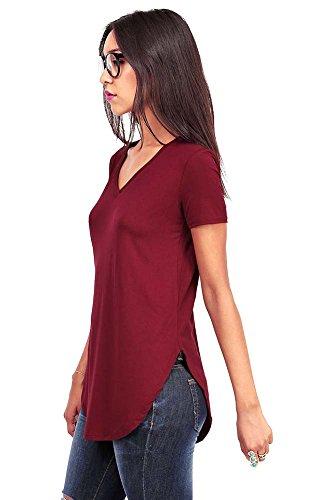 (Emma's Closet Women's Oversize Stretchy V-Neck Tee (Large, Wine))