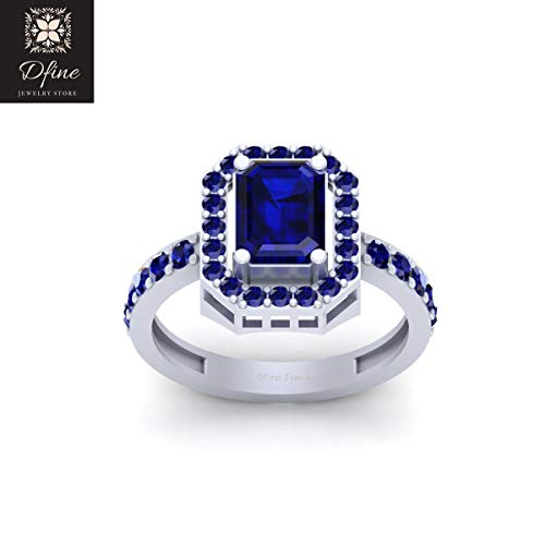 Halo Wedding Ring Womens Emerald Cut Blue Sapphire Unique Engagement Ring Jewelry -