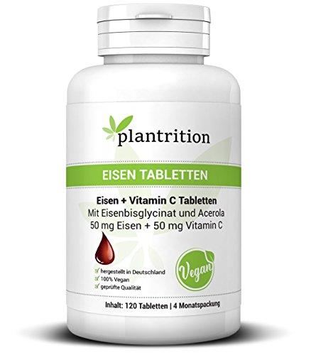 plantrition Eisen Tabletten hochdosiert Vegan 50mg Eisenbisglycinat + natürliches Vitamin C 50mg pro Tablette - 120 Tabletten, hohe Bioverfügbarkeit, hervorragende Verträglichkeit