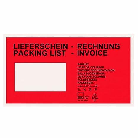 250x Dokumententaschen Lieferscheintaschen DIN lang'Lieferschein' Rot MyPack-24