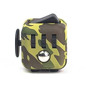 CPEI Anxiety Attention Toy Spinner Fidget Cube for Children and Adults (Camouflage green, Same Size)