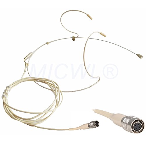 - MICWL 40-AT4 Omidirectional Mic Headset Headworn Microphone For Audio Technica Wireless System - With 4 Pin Hirose Connector - Beige Double ear Hook Design