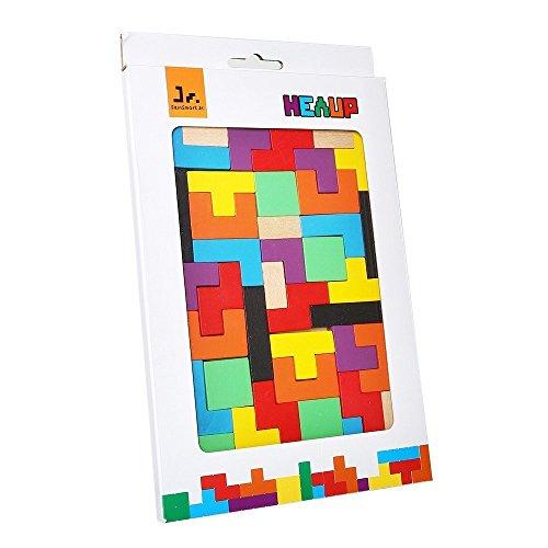 410L%2BpFUWaL - SainSmart Jr. Wooden Tetris Puzzle 40 Pcs Brain Teasers Toy for Kids, Wood Puzzle Box Brain Games Wood Burr Tangram Jigsaw Toy Children Days