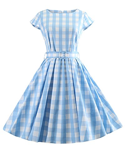 ZAFUL Women's 1950s Vintage Cap Sleeve V Neck Plaid Swing Dress with Pockets(Blue,4XL) (Rockabilly Dresses Plus Size)