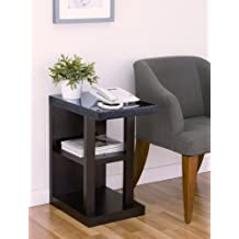 Furniture of America Artie C-Shape End Table with Faux Marble Top
