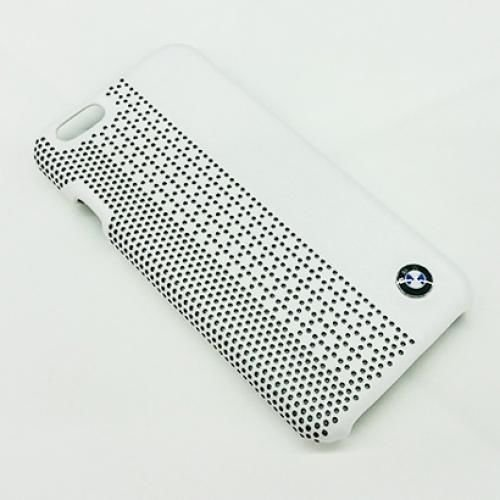 BMW Official iPhone 6 6S Signature Collection Genuine Leather Hard Case Perforated WHITE - BMHCP6PEW
