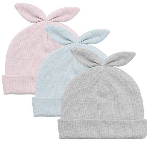 Durio Baby Beanie Newborn Beanie Hat Soft Beanies Baby Girl Hats Fall Winter Hat Baby Gift 3 Pack Blue & Pink & Grey Rabbit ()