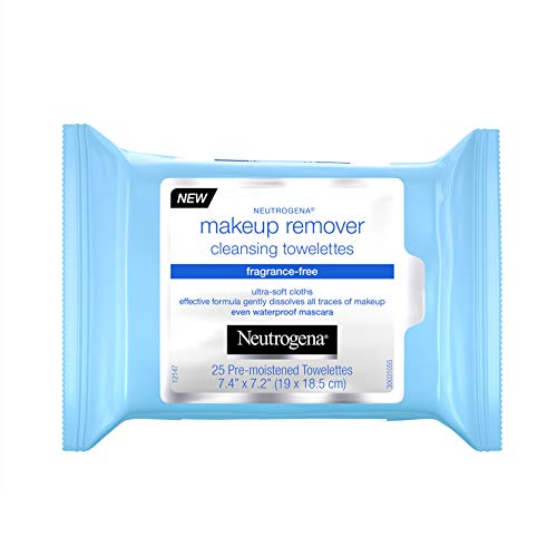Neutrogena Fragrance-Free Makeup Remover Face Wipes, Daily Facial Cleansing Towelettes for Waterproof Makeup, Dirt & Oil, Gentle, Alcohol-Free & Fragrance Free, 25 ct